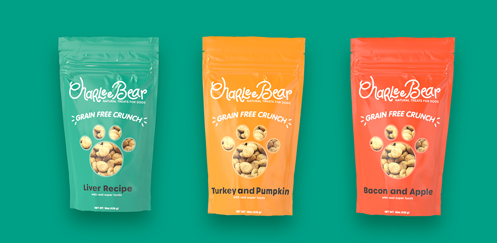 Charlee Bear Dog Treats Custom Packaging Image